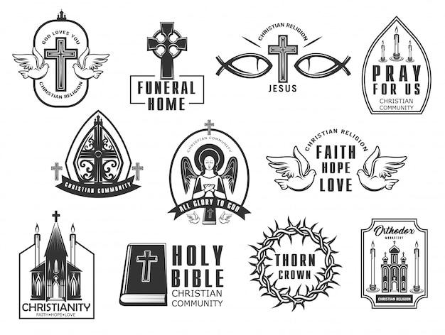 Conjunto de ícones de religião cristã.