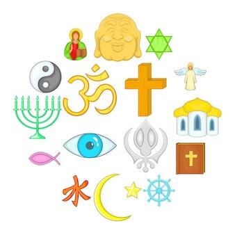 Conjunto de ícones de religião, estilo cartoon