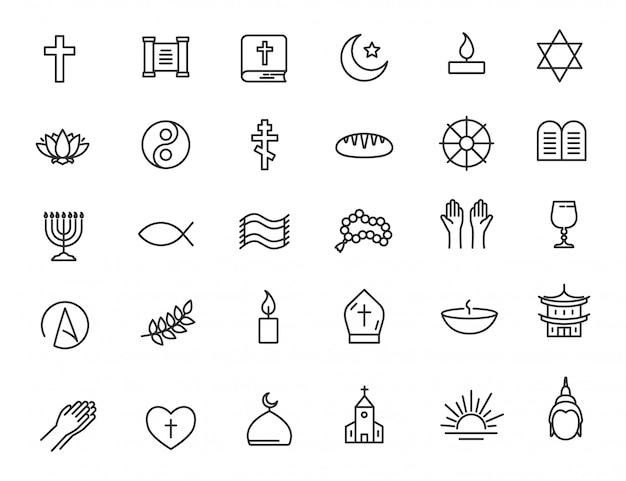 Conjunto de ícones de religião lineares ícones de fé