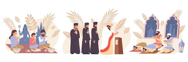 Conjunto de ícones de religiões do mundo plano com grupos de cristãos budistas e muçulmanos rezando ilustração