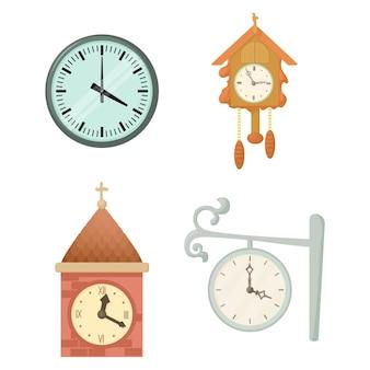 Conjunto de ícones de relógio de parede