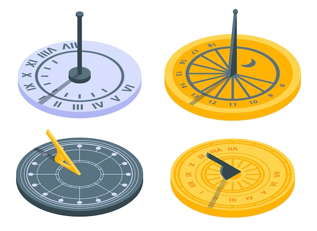 Conjunto de ícones de relógio de sol, estilo isométrico