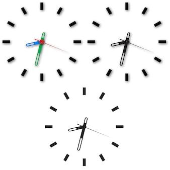 Conjunto de ícones de relógio no fundo branco.