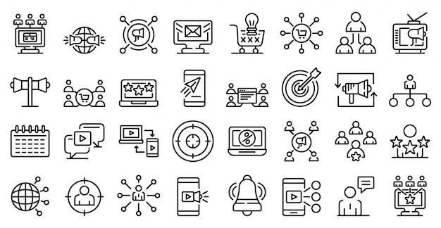 Conjunto de ícones de remarketing, estilo de estrutura de tópicos
