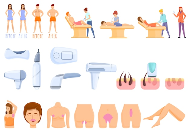 Conjunto de ícones de remoção de cabelo a laser, estilo cartoon
