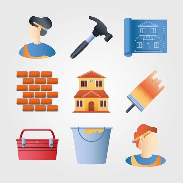 Conjunto de ícones de remodelação de casa parede tijolo martelo escova cor balde plano ilustração vetorial