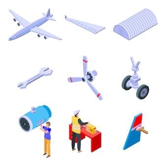 Conjunto de ícones de reparação de aeronaves