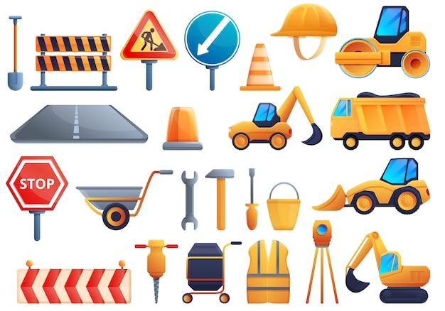 Conjunto de ícones de reparação de estrada, estilo cartoon