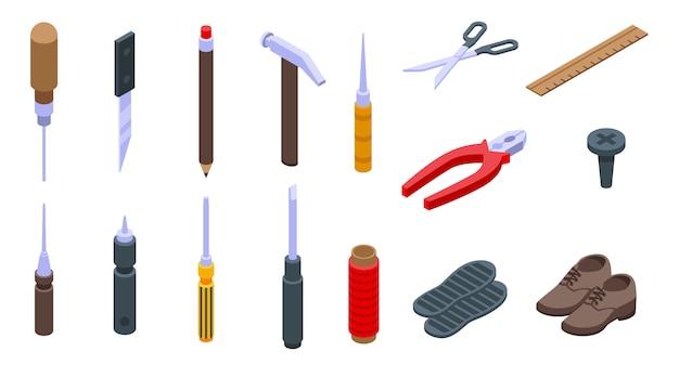 Conjunto de ícones de reparação de sapato, estilo isométrico