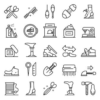 Conjunto de ícones de reparação de sapatos, estilo de estrutura de tópicos