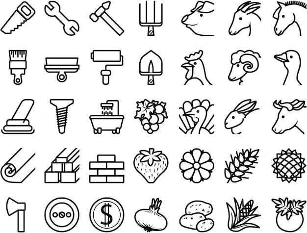 Conjunto de ícones de reparação, materiais de construção, animais de fazenda, plantas