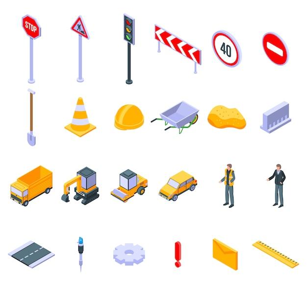 Conjunto de ícones de reparação rodoviária, estilo isométrico