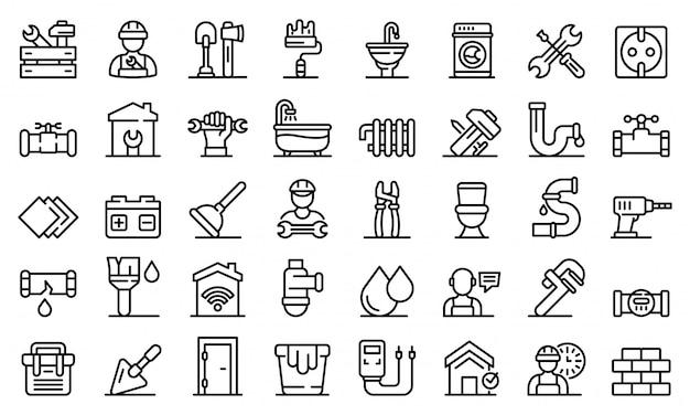 Conjunto de ícones de reparador