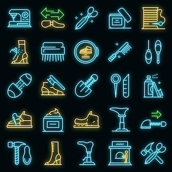 Conjunto de ícones de reparo de sapatos. conjunto de contorno de ícones de vetor de conserto de sapatos cor de néon no preto