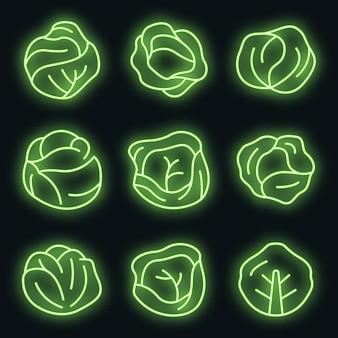 Conjunto de ícones de repolho. conjunto de contorno de ícones de vetor de repolho cor de néon no preto