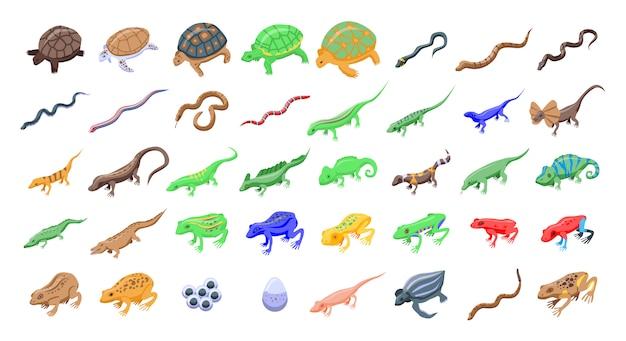 Conjunto de ícones de répteis e anfíbios, estilo isométrico