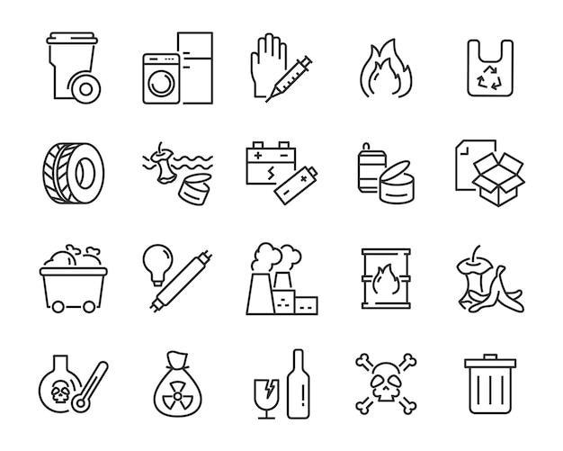 Conjunto de ícones de resíduos