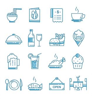 Conjunto de ícones de restaurante com estilo de estrutura de tópicos