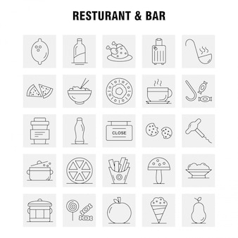 Conjunto de ícones de restaurante e bar