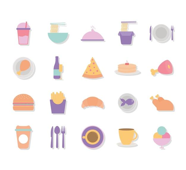 Conjunto de ícones de restaurante isolado