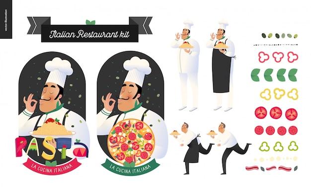 Conjunto de ícones de restaurante italiano