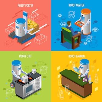 Conjunto de ícones de restaurante robótico isométrico