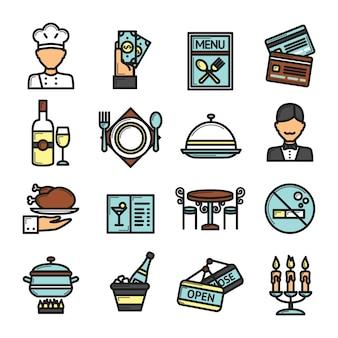 Conjunto de ícones de restaurante