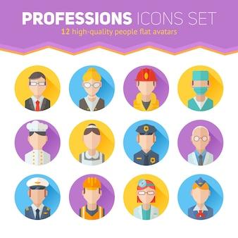 Conjunto de ícones de retratos lisos com pessoas de diferentes profissões