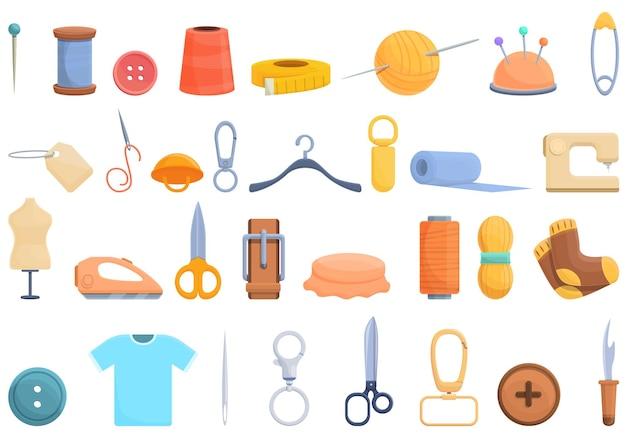 Conjunto de ícones de retrosaria. conjunto de desenhos animados de ícones vetoriais de retrosaria para web design