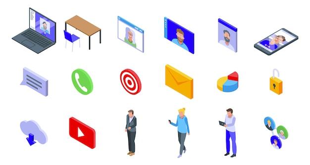 Conjunto de ícones de reunião on-line, estilo isométrico