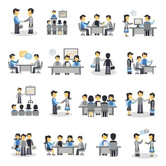 Conjunto de ícones de reunião plana