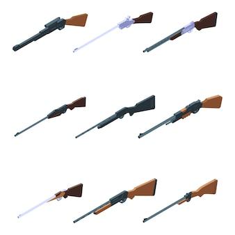 Conjunto de ícones de rifle de caça