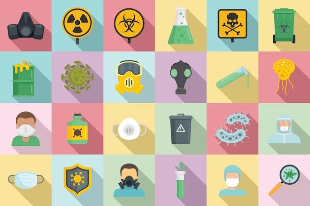 Conjunto de ícones de risco biológico. conjunto plano de ícones de risco biológico para web design