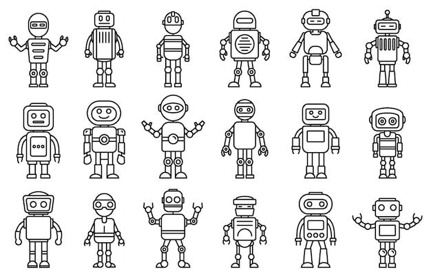 Conjunto de ícones de robô humanóide, estilo de estrutura de tópicos