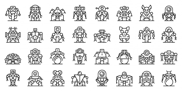 Conjunto de ícones de robô-transformador, estilo de estrutura de tópicos
