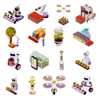 Conjunto de ícones de robôs agrícolas