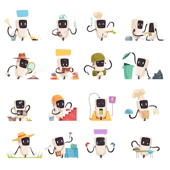 Conjunto de ícones de robôs de inteligência artificial