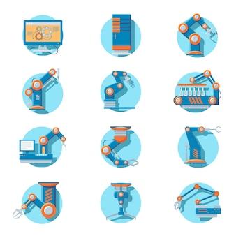 Conjunto de ícones de robôs industriais automáticos