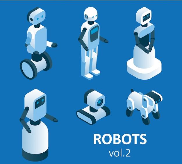 Conjunto de ícones de robótica moderna isométrica