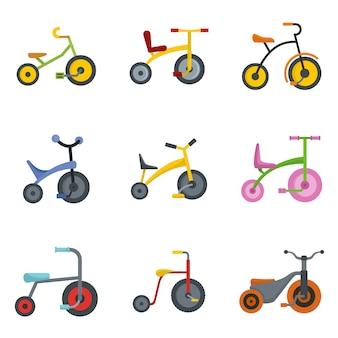 Conjunto de ícones de roda de bicicleta de triciclo