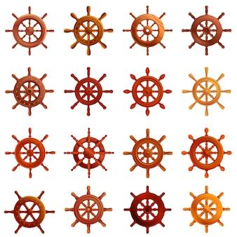 Conjunto de ícones de roda de navio, estilo cartoon