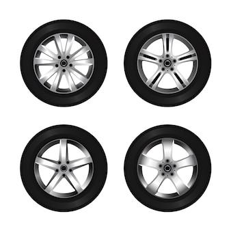 Conjunto de ícones de roda e pneu. disco de carro brilhante