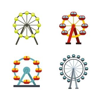 Conjunto de ícones de roda-gigante. plano conjunto de coleção de ícones de vetor de roda gigante isolado