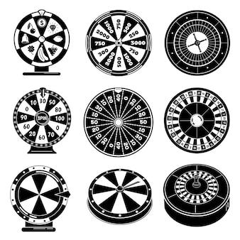Conjunto de ícones de roleta, estilo simples