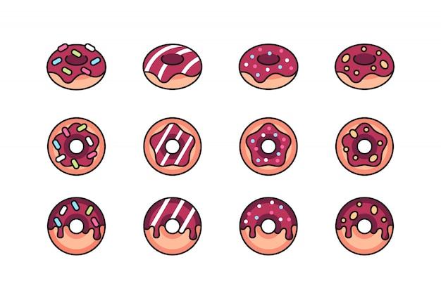 Conjunto de ícones de rosquinhas