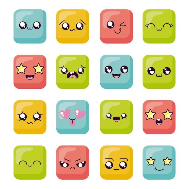 Conjunto de ícones de rosto de desenho animado kawaii dentro de quadros