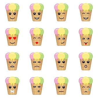Conjunto de ícones de rosto de sorvete emocional