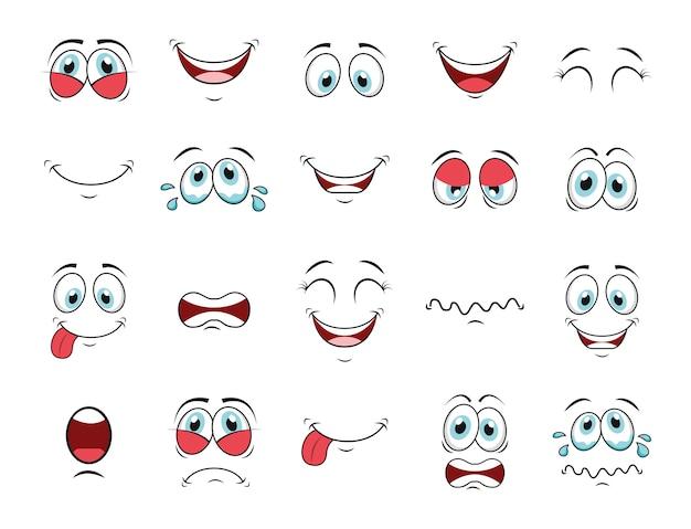 Conjunto de ícones de rosto dos desenhos animados