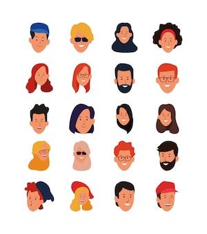 Conjunto de ícones de rostos de pessoas felizes dos desenhos animados