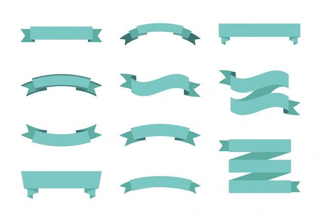 Conjunto de ícones de rótulo azul isolado